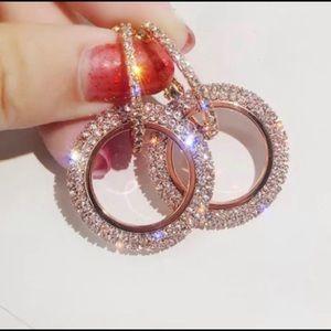 Rose Gold Crystal Hoop Earings.